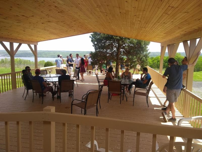 Seated and standing guests enjoy wine and company on the deck, with Cayuga Lake in the background